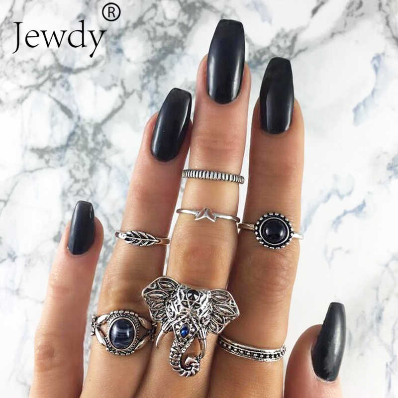 7PCS/Lot Fashion Leaf Stone Midi Ring Sets New 2019 Vintage Crystal Opal Knuckle Rings for Women Anillos Mujer Jewellery