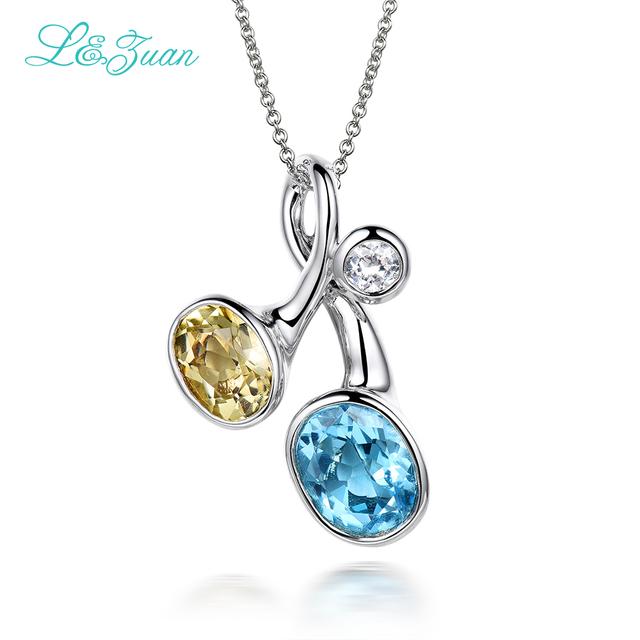 L & biue 5.33ct zuan 925 sterling silver natural Topázio pedra Colar & Pingente para o presente da mulher com corrente de prata