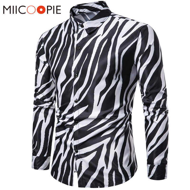 2019 New Nightclub Party Zebra Striped Mens Shirts Casual Slim Fit Long Sleeve Camisa Social Mens Dress Shirts Chemise Homme 3XL