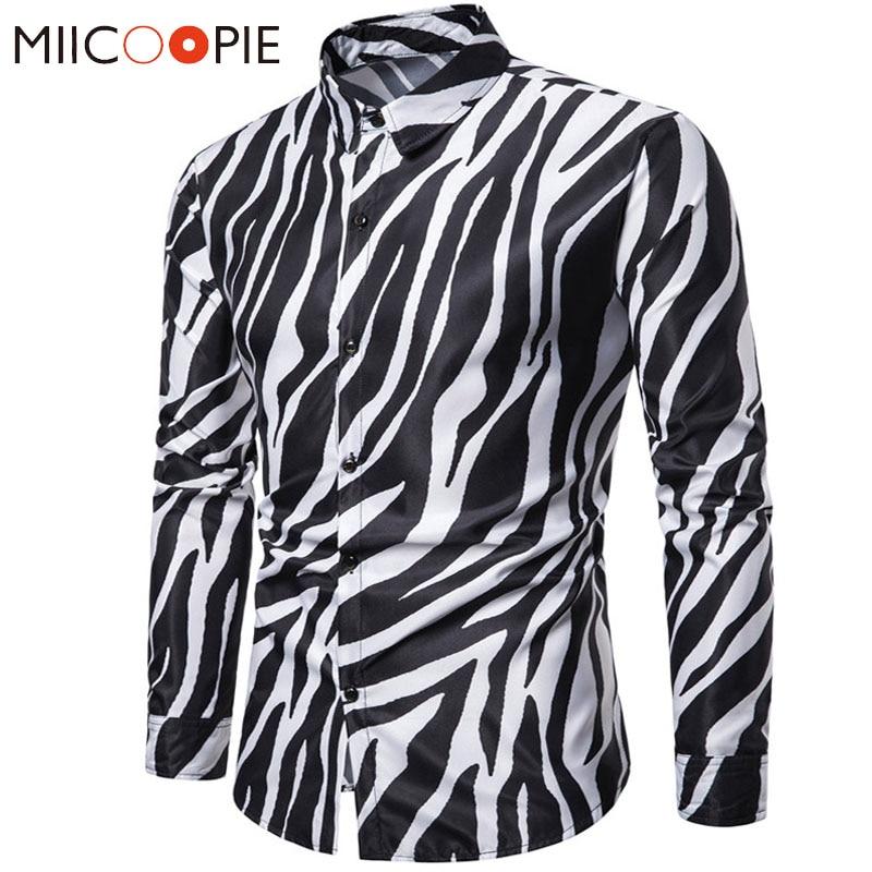2019 New Nightclub Party Zebra Striped Mens Shirts Casual Slim Fit Long Sleeve Camisa Social Mens Dress Shirts Chemise Homme 3XL