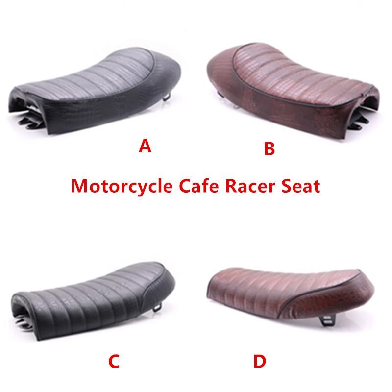 Motorcycle Alligator Leather Seat Retro Scramble Cafe Racer Seat Flat For Honda CB125S 750 CL175 Suzuki GS500E Kawasaki KZ XJ