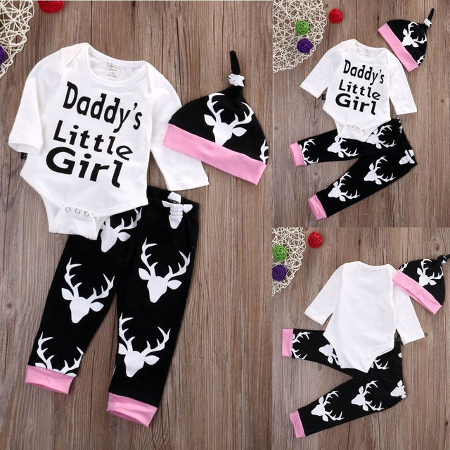 aaaa0762b1f Newborn Baby Girls Little Clothes Sets Tops Romper + Long Pants Cute  Animals Cotton Hat Outfits Set Clothes