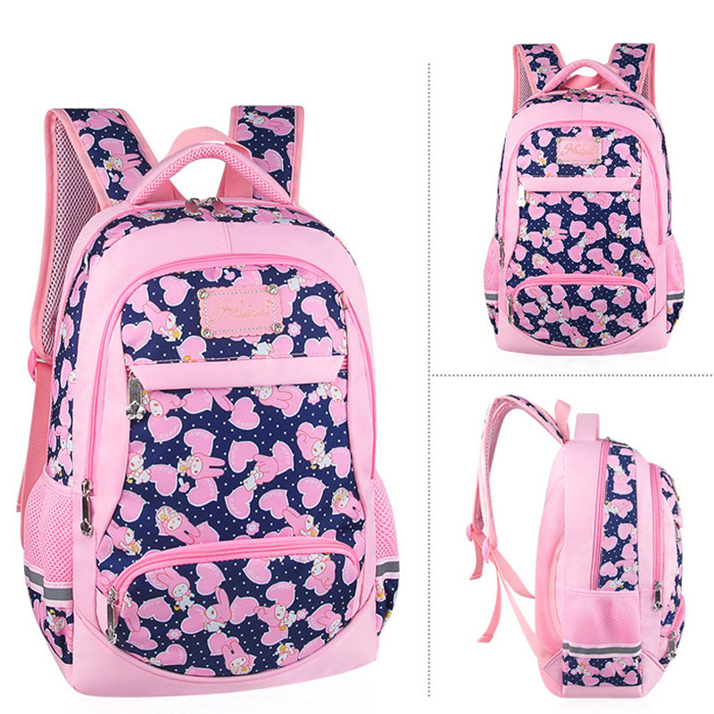 Large Pink School bags for Teenager Girl Cute Princess Casual Travel daypack Pupil Student Backpack with Safe Reflective strap in School Bags from Luggage Bags