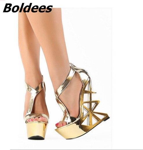 Boldees Extraordinary Glittering Golden Wedge Sandals Stylish Women Open Toe Strange Style Heels Dress Shoes Fashion Sandals stylish golden hollow rounded rectangle hasp bracelet for women