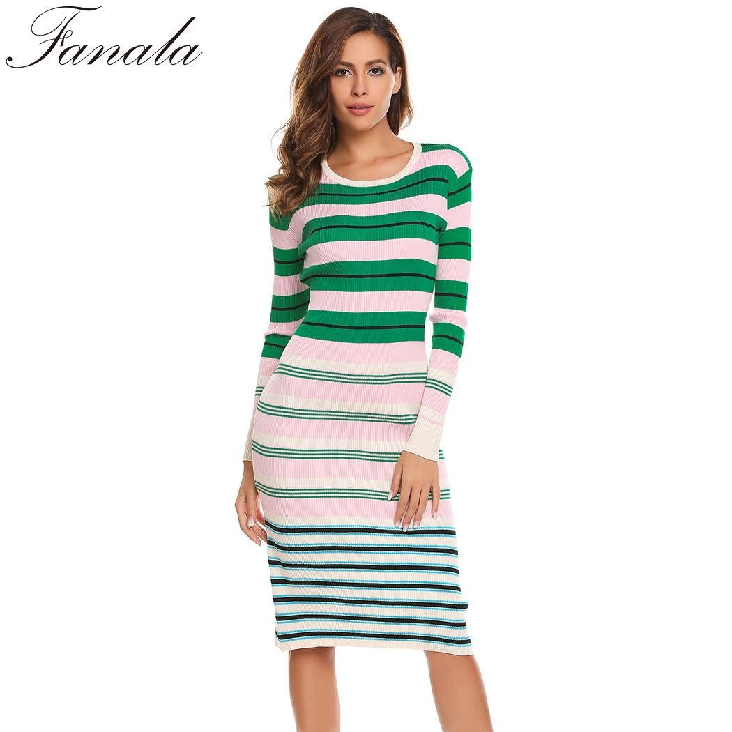 Autumn Striped Knitted Sweater Dress Women Casual Long Sleeve O Neck Pullover Sweater Dresses Sheath Spring Winte 2017 casual striped comfy knitted blouse