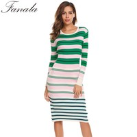 Autumn Striped Knitted Sweater Dress Women Casual Long Sleeve O Neck Pullover Sweater Dresses Sheath Spring