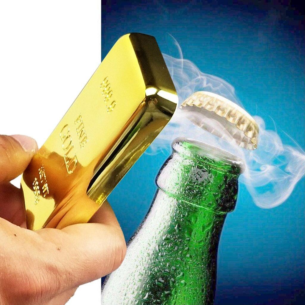 Gold Bar Bottle Opener & Magnet Golden Bullion Fridge Beer Bar Kitchen Utensils Kitchen Tools Plate Kitchen Accessories