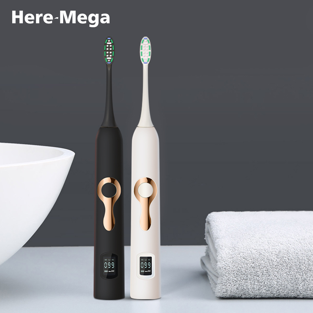 HERE MEGA Sonic Electric Toothbrush Ultrasonic Whitening Teeth Vibrator Tooth Brush Dental Care Oral Hygiene Washable LCD 608