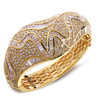 New Unique Fashion Women 2014 Banquet Party Luxury Wedding Jewelry White Color AAA Cubic Zirconia Micro Pave Setting Bangles