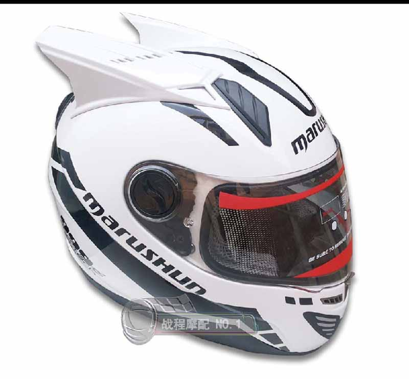 New design MALUSHUN motorcycle helmet with horns 4 color lens for option full face automobile race helmet Casco moto 1000m motorcycle helmet intercom bt s2 waterproof for wired wireless helmet