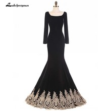 Black Evening Dresses with gold lace Long Sleeves Mermaid Party Wear Long  Mermaid Formal Evening Gown Robe De Soiree 1a552b694050