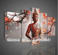Handmade Large Modern Abstract Red Plum Flower Buddha Painting Canvas Oil Wall Art Home Decoration 5 Piece Set Picture For Sale