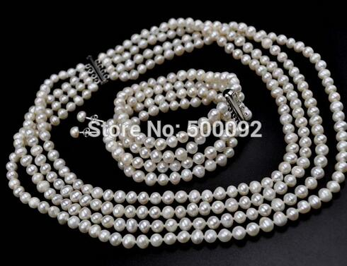 Free shipping 3strds Genuine 7-8MM white freshwater Pearl Necklace & Bracelet free EarringFree shipping 3strds Genuine 7-8MM white freshwater Pearl Necklace & Bracelet free Earring