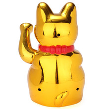 Gold Waving Fortune Lucky Cat Figure Moving Arm Wealth Fortune Feng Shui For Home Restaurant Decor