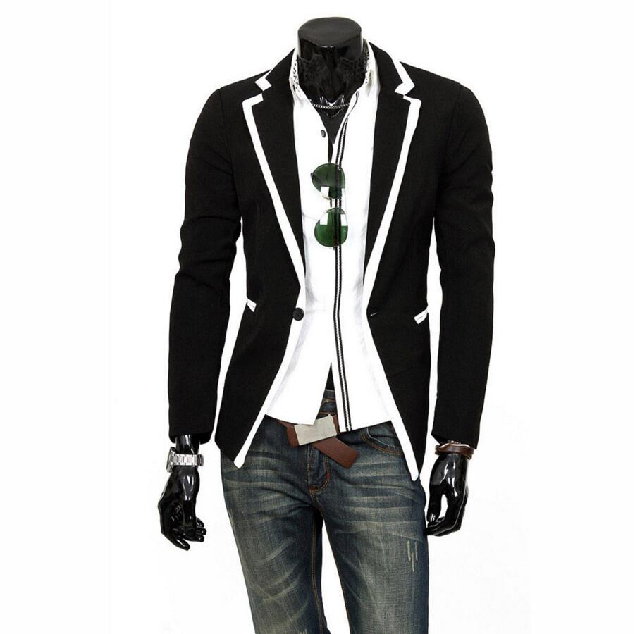 New Fashion Mens Jacket font b Suits b font Slim Fit Stylish Casual One Button Coat