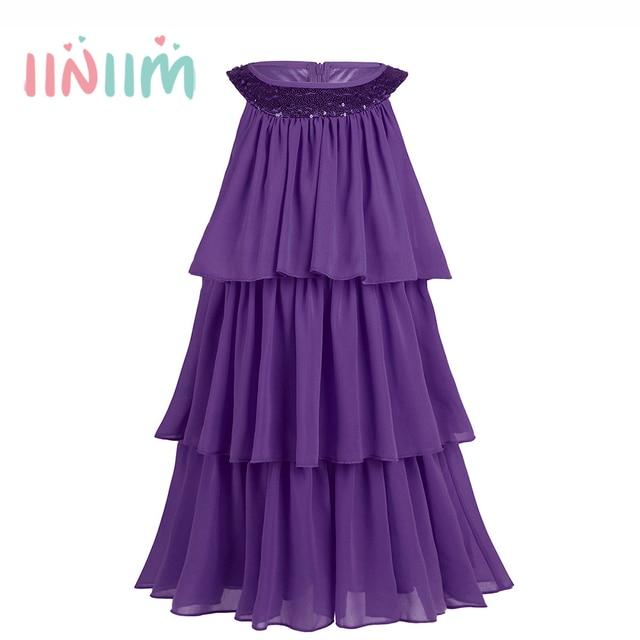 0a89fe65a2fa7 Mignon Angleterre Style D été Jolie Enfants Filles Sans Manches Robes  Triple Mousseline de Soie