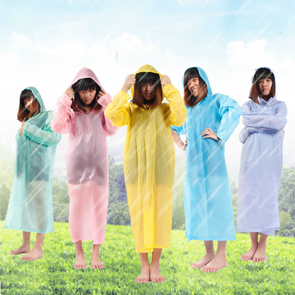 1 pcs Disposable Raincoat Adult Emergency Waterproof Hood Poncho Travel Camping Must Rain Coat Unisex Random Color