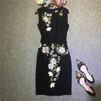 High Quality Women Fashion Elegant Floral Embroidery Office Work Dress Sleeveless Fitted Little Black Dresses New