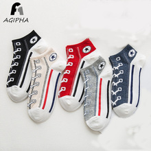 цена 5 Pairs/lot Funny Shoes Pattern Women Cotton Short Socks Harajuku Casual Summer Thin Ankle Socks Calcetines Mujer Brand New