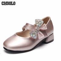 Cmsolo王女革の靴の弓ダイヤモンド靴用女の子パフォーマンス子供ファッションエレガントな履物ピンク黒サイズ26-36 pu