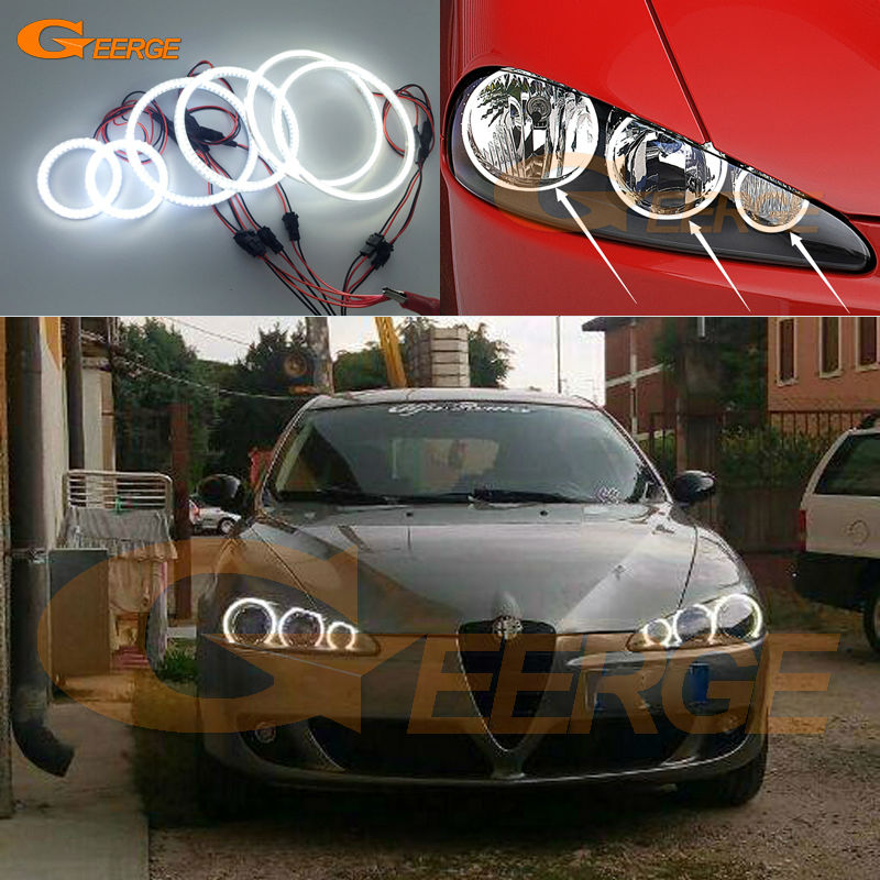 For Alfa Romeo 147 2005 2006 2007 2008 2009 2010 Excellent 6 pcs angel eyes Halo Rings Super bright 3528 SMD led Angel Eyes kit super bright led angel eyes for bmw x5 2000 to 2006 color shift headlight halo angel demon eyes rings kit