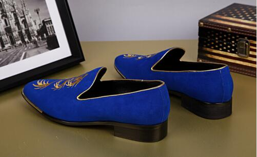 2018 Dedo Zapatos Bordado Cuero Mocasines Masculino Pie Redonda Genuino Vestir Del Hombres Nuevas Casuales blue De Lujo Black Resbalón En red 0rxn07q