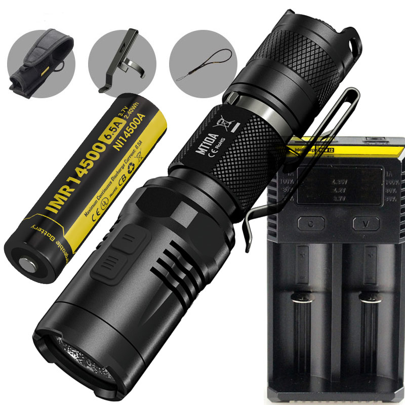 Tactical Flashlight NITECORE MT10A CREE XM-L2 U2 max. 920 lumen beam distance 170 meter small size tactical torch nitecore mt10a tactical flashlight cree xm l2 u2 920 lumen led flashlight nitecore imr 14500 rechargeable battery power charger