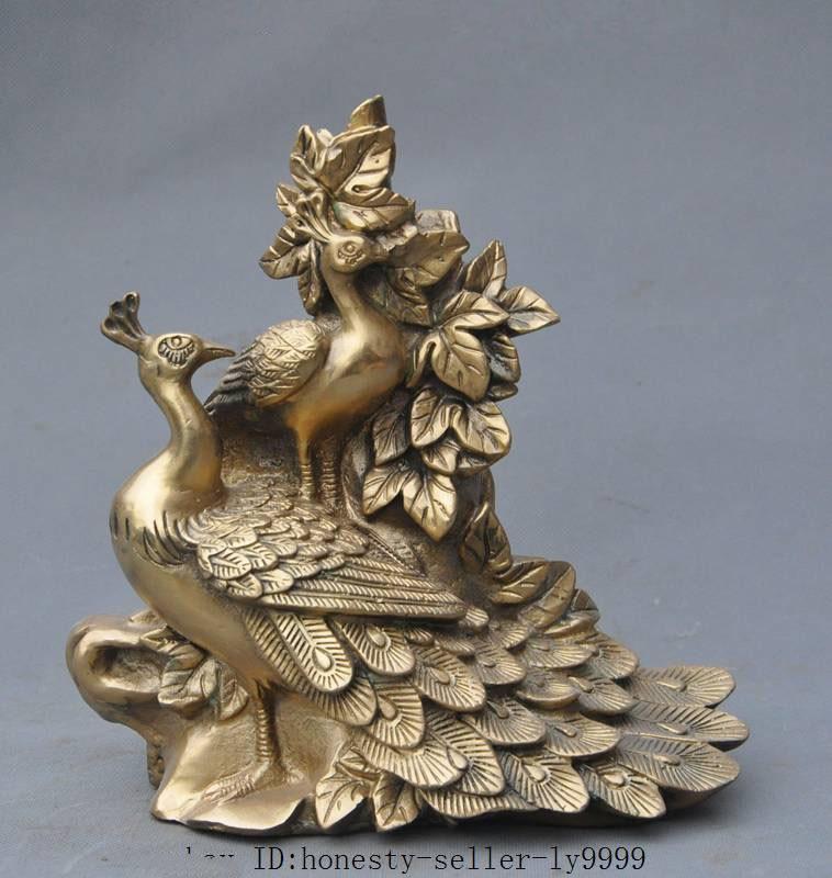 Christmas china brass fengshui lucky Auspicious animal Peacock Peafowl Maurya Pavo statue Halloween statue