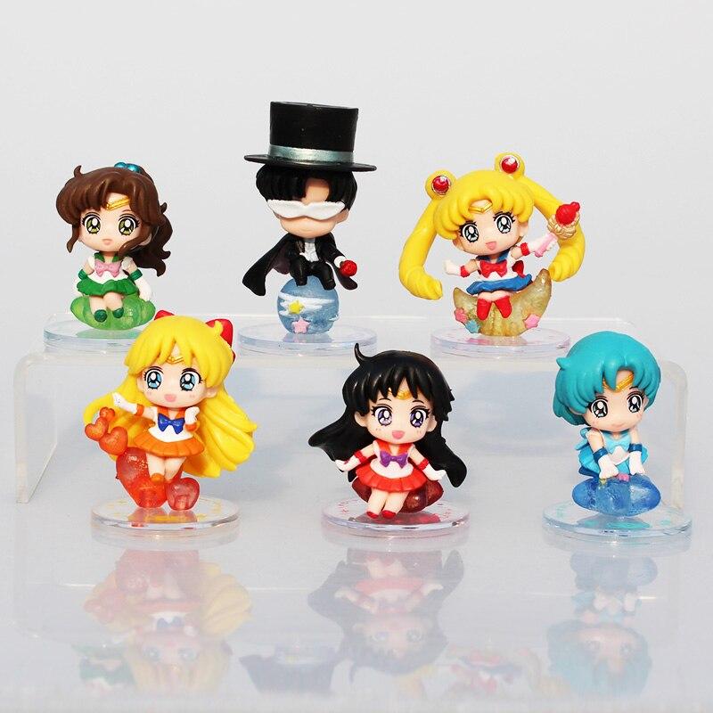 6 pçs/set Tuxedo Mask Sailor Moon Tsukino Sailor Marte Júpiter Venus Mercury PVC Figuras Brinquedos Modelo Collectible Dolls 5 ~ 6cm