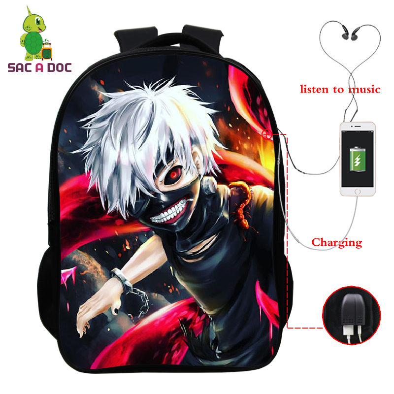 16 Inch  Japanese Anime Backpack Cosplay Satchel School Shoulder Laptop Bag Tokyo Ghoul Rucksack Children Backpacks Travel Bags
