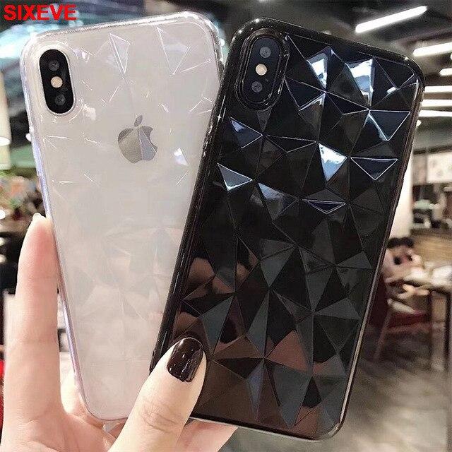 3D Kim Cương Mềm TPU Ốp Lưng Dẻo Silicon Cho iPhone 6S 6S 7 7S iPhone 8 Plus 10 X S XR XS Max 5 5S 5SE 6Plus 6SPlus 7Plus 8 Plus