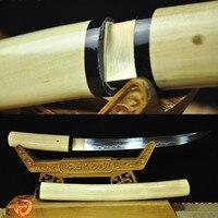 Ручной ковки японский Shirasaya меч катана T10 углерода Сталь глины закаленное Tanto битва Sharp