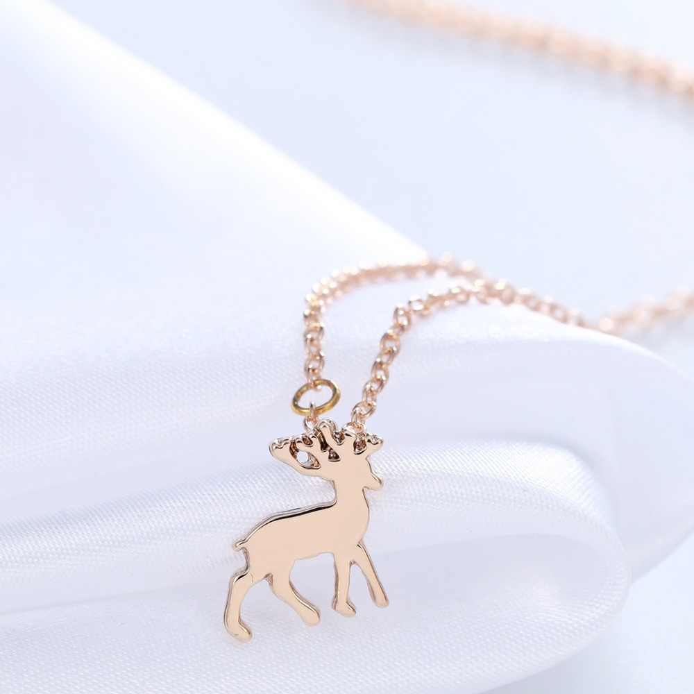 Chereda Geometric Origami Deer Necklace Unique Christmas Necklace Silver Necklace Women Animal Necklaces & Pendants