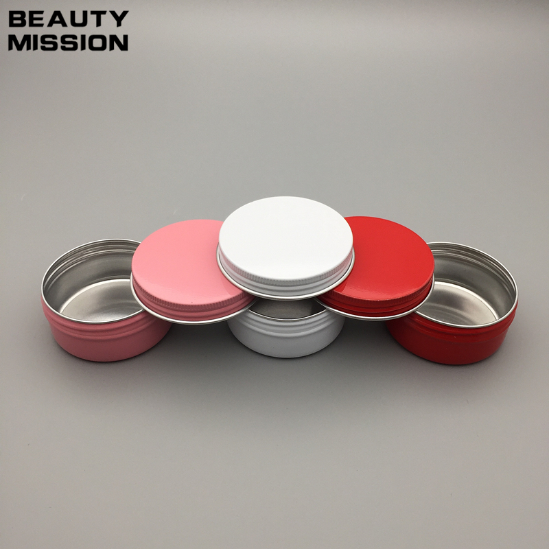 50g white pink red empty aluminum Metal ointment box 50ml aluminum cream jar cosmetic bottle with