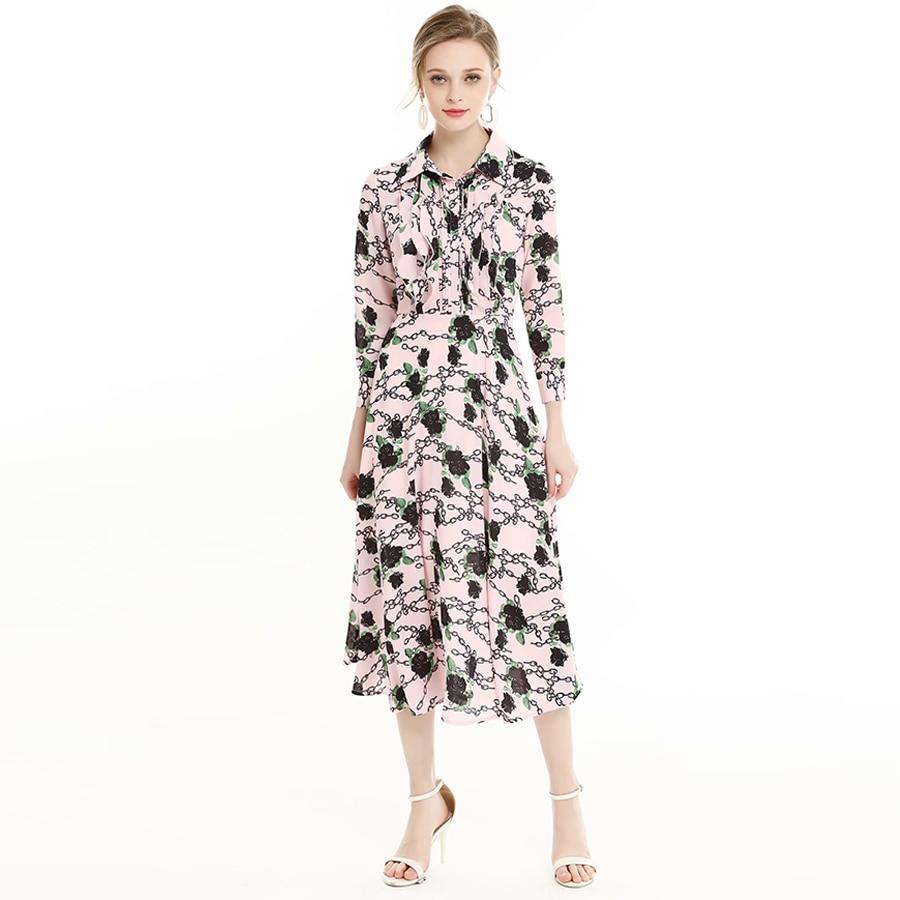 VERDEJULIAY Luxury Flower Printed Dresses 2019 Summer Fashion Full Sleeve Turn Down Collar Mid Calf Boho