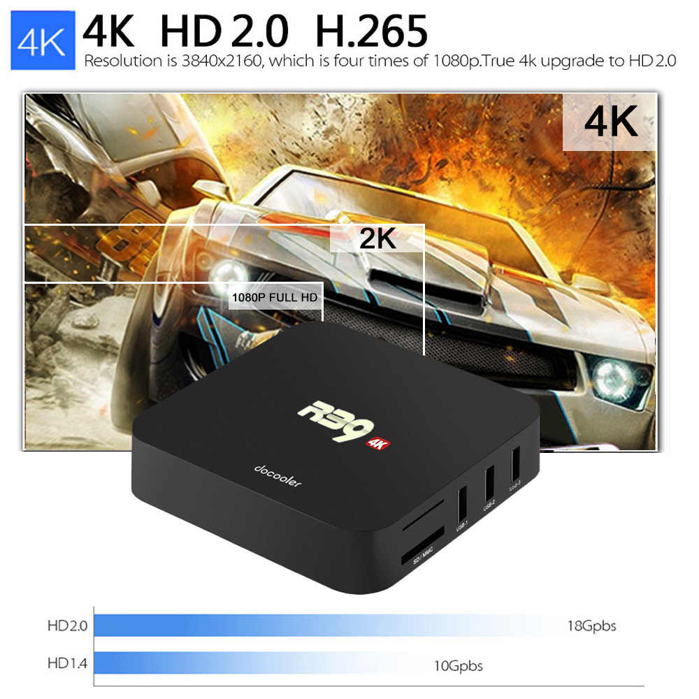 2018 HOT SALE Cheap docooler R39 Smart TV BOX Android 8 1 TV Box RK3229  Quad Core UHD 4K 2GB16GB WiFi H 265 HD Media Player
