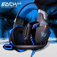 KOTION CADA G2000 Gaming Headset auricular Atado Con Alambre del Juego de auriculares con micrófono led cancelación de ruido auriculares para ordenador pc