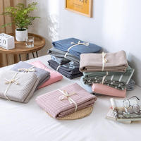 High Quality Washed Cotton Bed Sheet Queen King Full Size Flat Sheet Pillowcase Solid Color Bedspread Bed Cover Set Bedspreien