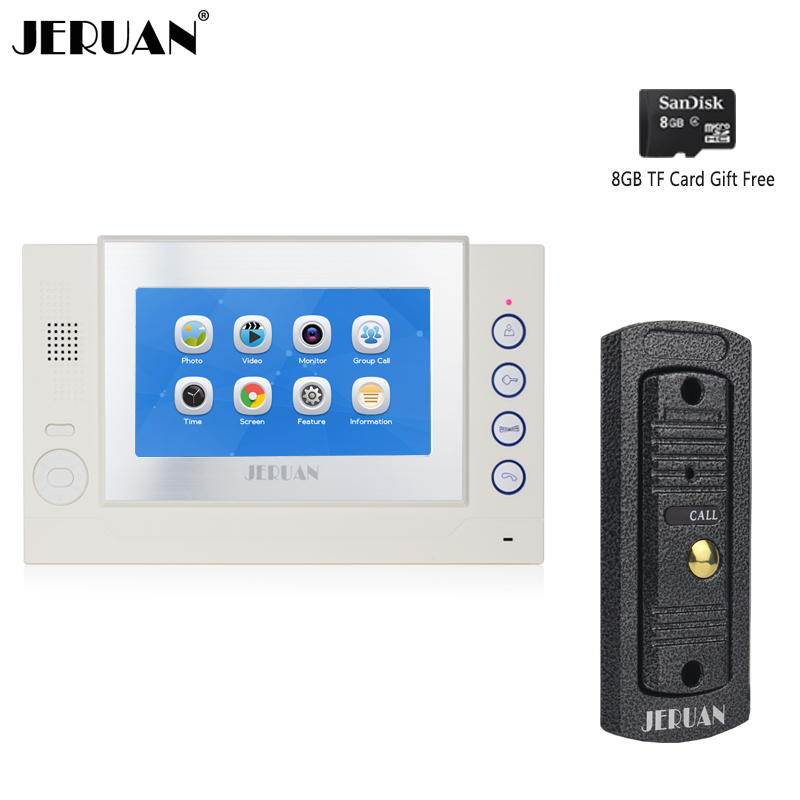 JERUAN 7 inch LCD Video Doorbell Door phone Record Intercom System Metal Waterproof Infrared Night Vision Camera 8GB TF Card 7 inch video doorbell tft lcd hd screen wired video doorphone for villa one monitor with one metal outdoor unit night vision