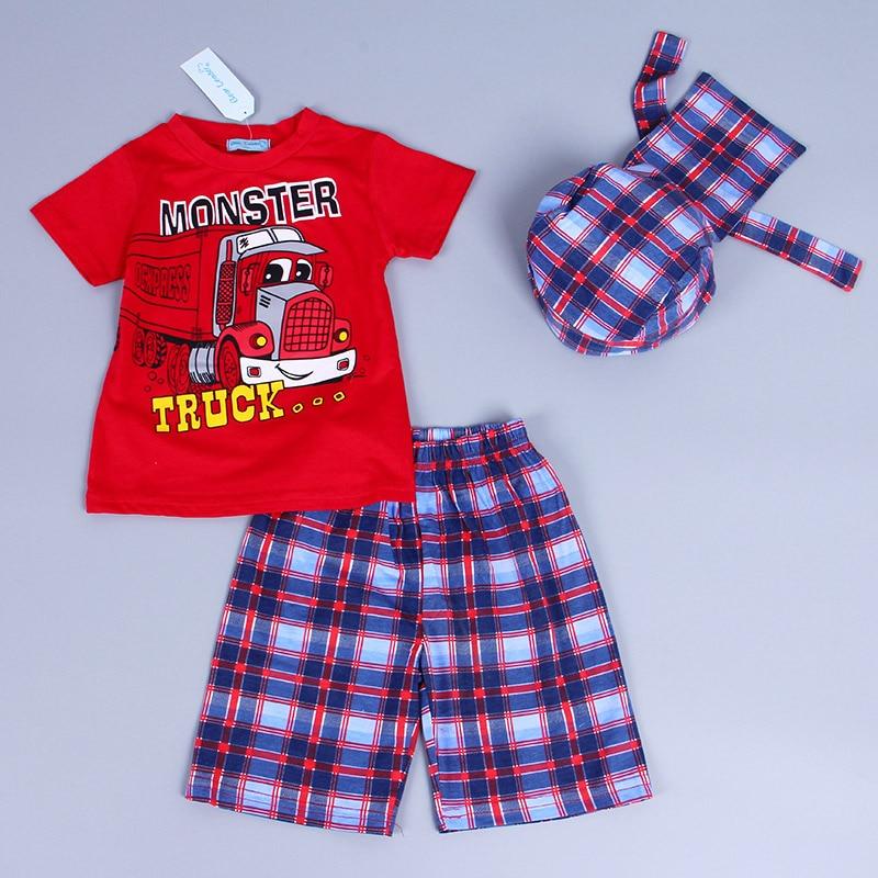 Bear Leader спортивный комплект для мальчиков Шорты для мальчиков Костюмы с героями мультфильмов Летняя футболка с короткими рукавами и брюки в клетку и шапочка комплект одежды 3шт.