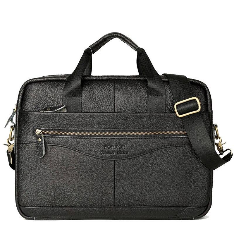 Genuine Leather Handbag Men Briefcase Brand Men's Messenger Bag Male Laptop Bag Business Leather Shoulder Bag Travel Bag 2019