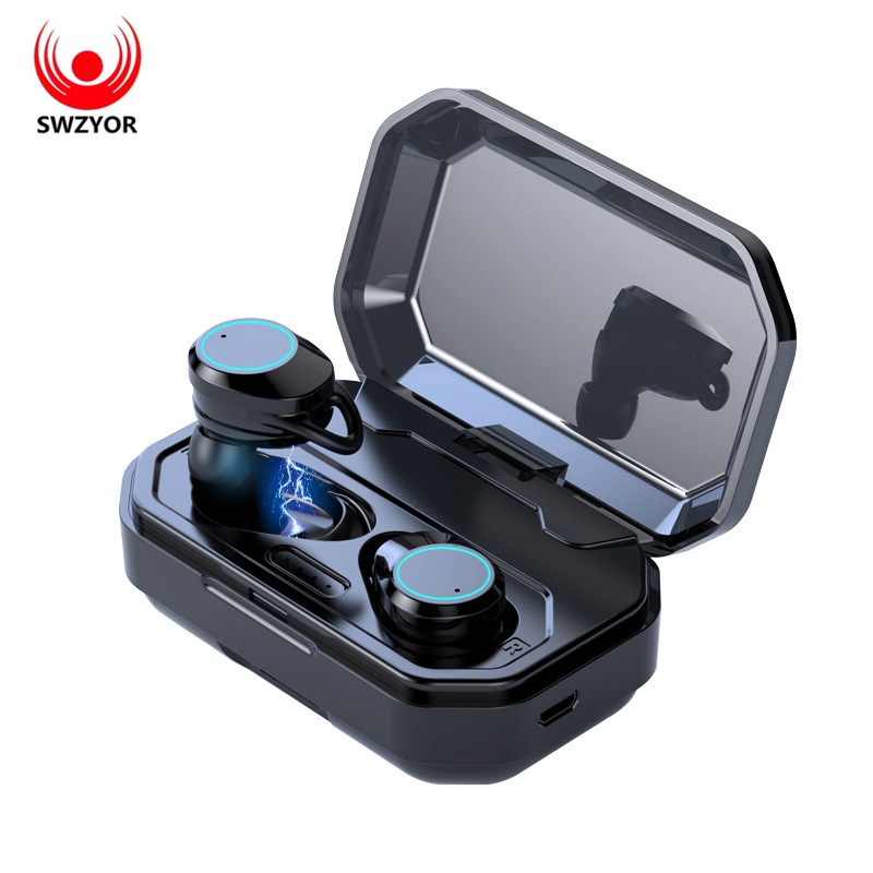 SWZYOR Wireless Earphones 5.0 Bluetooth 3D Beep bass IPX6 Outdoor Cordless Ear Earbuds with 3000 mAh Power bank For IOS Android