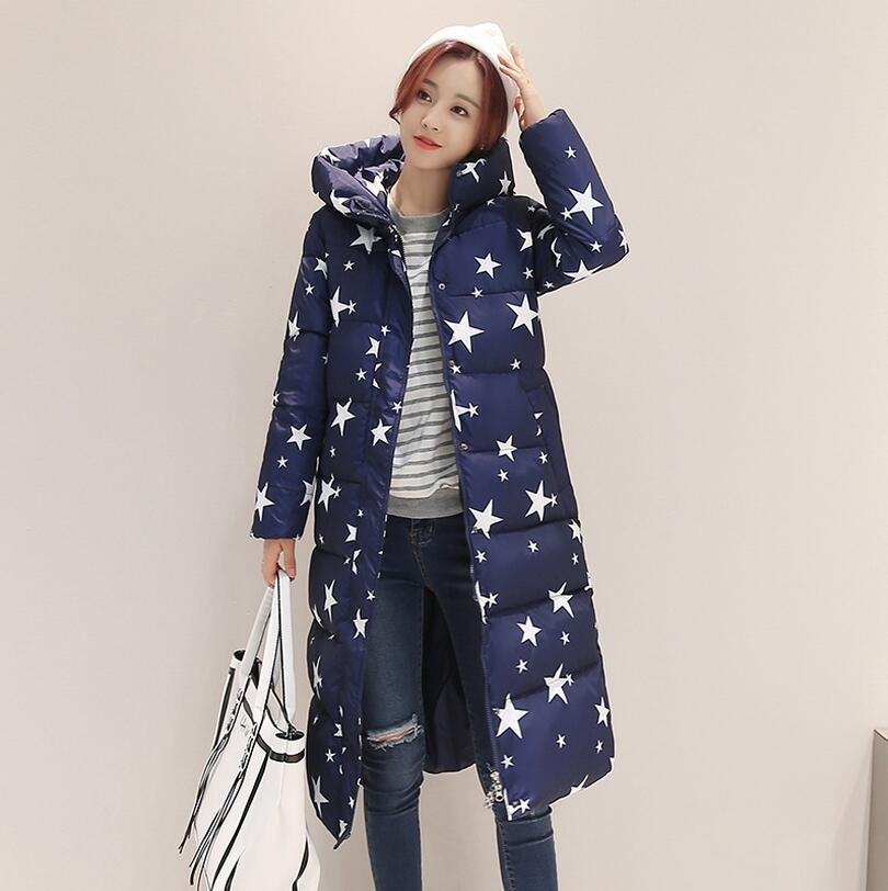 High Quality 2017 new winter women's down cotton coat Star Printed Long padded jacket Parka warm Hood Coat plus size 3XL S1155  new obese men hooded down jacket in winter jacket coat plus size7xl8xl cotton padded clothes to keep warm and high quality coat