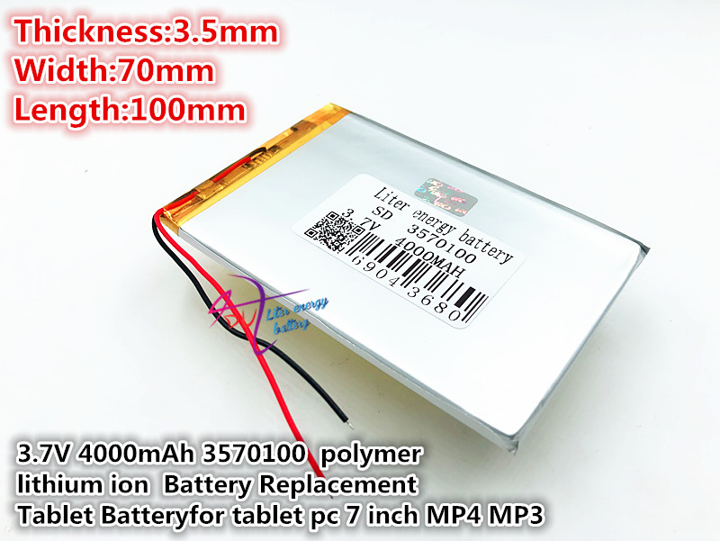 best battery brand 3.7V,4000mAH,3570100 (polymer lithium ion battery) Li-ion battery for tablet pc,mp4,cell phone,