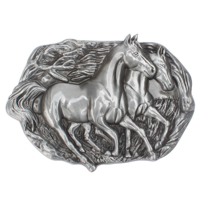 Two Horses Belt Buckle Four Centimeter Zinc Alloy Smooth Buckle