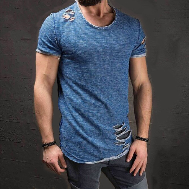 New Hot Sale Ripped Men Slim Fit Cotton Tops T-Shirt Short Sleeve Casual O Neck Tee Shirt 5