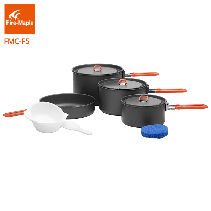 Fire Maple Feast 5 Outdoor Camping Hiking Pinic Cookware Backpacking Cooking Picnic 3 Pots 1 Frypan Set Foldable Handle FMC-F5 fire maple feast 3 outdoor camping hiking cookware backpacking cooking picnic pot pan set foldable handle 2 pots 1 frypan fmc f3