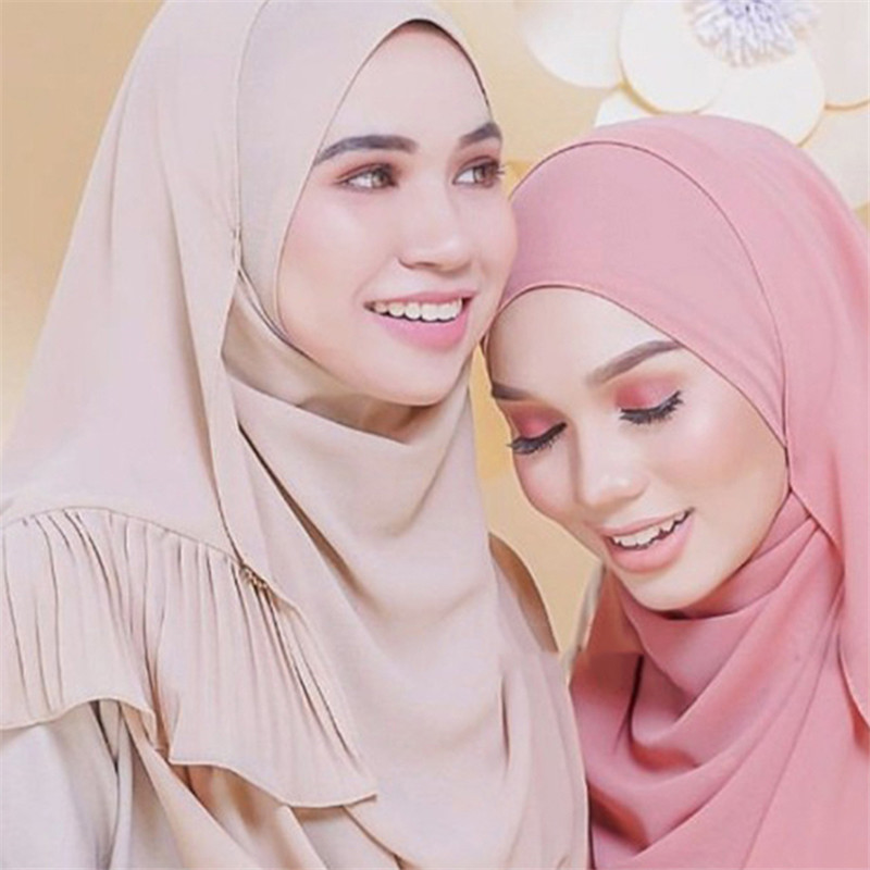 70*185CM Muslim Women Headscarf Plain Chiffon Crinkle Hijab Islamic Foulard Shawls And Wraps Femme Musulman Arab Head Scarves
