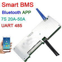 7S 24V 20A 30A 40A 50A smart Lithium li ion battery protection board BMS system Bluetooth APP UART RS485 software monitor