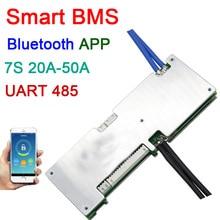 Placa de protección de batería de ion de litio inteligente 7S, 24V, 20A, 30A, 40A, 50A, BMS, sistema Bluetooth, APP UART, monitor de software RS485